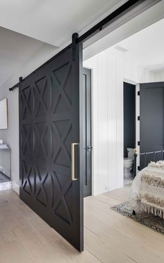 Bedroom design photos, ideas and inspiration. Amazing gallery of interior design and decorating ideas of bedrooms by elite interior designers - Page 19 Barnyard Door, Black Barn, Black Door, Barn Door Designs, Interior Barn Doors, Modern Barn Doors, Door Design Interior, Modern Sliding Doors, Gray Interior