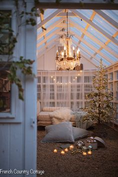A merry little greenhouse Christmas tree - All things merry and bright. even in the greenhouse. Greenhouse Wedding, Diy Greenhouse, Shabby Chic Greenhouse, Greenhouse Attached To House, French Country Cottage, French Country Decorating, Gold Christmas Decorations, Christmas Tree, Roof Christmas Lights