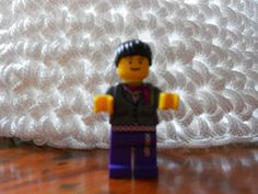 Rope basket, crocheted, woven rope, with lego lady for scale