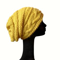 Baby Alpaca Cable Knit Hat, Women Knit Hat, Slouchy Beanie Hat