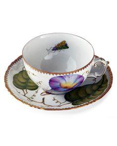 Anna Weatherley Treasure Garden Teacup and Saucer Tea Cup Saucer, Tea Cups, Coffee Cups, Chocolate Cups, Bone China, Neiman Marcus, Dinnerware, Tea Party, Hand Painted