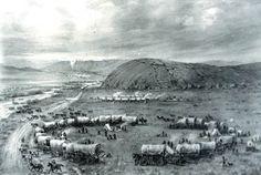 Wagon Train | Circled wagon train near Devil's Gate — from Wyoming Trails