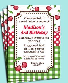 Cherry picnic invitation - birthday party at the park