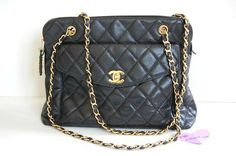 GORGEOUS Large Quilted Chanel bag in black caviar leather in great pre-owned condition. Only $1500!