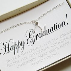 Wishbone Necklace, Sterling Silver - Graduation Gift, Graduate Gift, Class of 2014, Graduation necklace, Graduation Card Jewelry