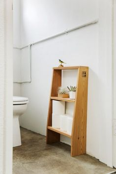 """S-SHELF""and ""SS-SHELF"" are designed for use in small spaces, to store small things. In hallways, bathrooms and small terraces the slender form stands without interrupting the space."