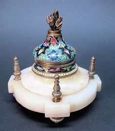 Fine 19th C. FRENCH EMPIRE CHAMPLEVE, Bronze & Onyx Inkwell c. 1870   antique