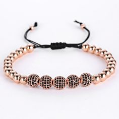 Anil Arjandas Men Bracelets,24K Gold Plated Round Steel Bead 8mm Micro Black Crystal Zircon Beads Braiding Macrame Bracelets Isn`t it awesome? Visit us