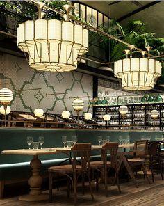 36 ideas for art deco interior cafe restaurant design Cafe Restaurant, Bar Restaurant Design, Restaurant Vintage, Restaurant Lighting, Cafe Bar, Restaurant Interiors, Luxury Restaurant, Restaurant Trends, Cafe Lighting