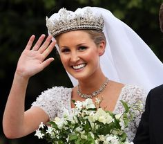 Lady Melissa Percy, daughter of Duke of Northumberland, arrives for her wedding to Mr. Thomas van Straubenzee at St. Michael's Church in Northumberland on 22 June 2013 wearing diamond tiara. Royal Crown Jewels, Royal Crowns, Royal Tiaras, Royal Jewelry, Tiaras And Crowns, British Crown Jewels, Royal Brides, Royal Weddings, Hollywood Fashion