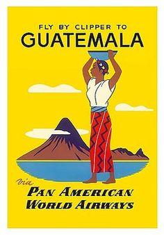 guatemala,guatemalan,pan american,native,pacaya,volcano,vintage airline travel poster,antigua,tikal,vintage travel poster,retro,poster art,vintage advertising,vintage travel,