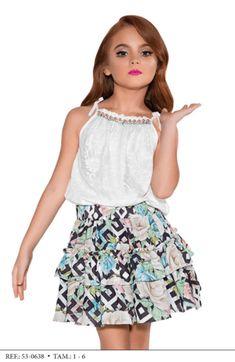 Conjunto Saia e Blusa  Miss Cake Moda Infanto Juvenil 530638 Little Girl Outfits, Kids Outfits Girls, Girls Party Dress, Little Girl Dresses, Toddler Outfits, Baby Dress, Girls Dresses, Cute Outfits, Lila Baby
