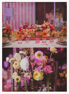 Girly springtime floral arrangements in shades of pink, orange, and yellow for The Cream LA wedding showcase | Photography by Studio Castillero