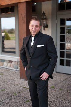 Classic groom outfit idea - black tux, black button-down and white necktie {Karen Feder}