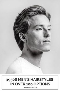 For a 1950s men's hairstyle, a tapered haircut or a flow haircut will easily be arranged in multiple ways if you opt to add a styling product and comb the hair afterward to gain this impressive shine and definition for your long strands. #1950smenhairstyle #mentaperedhaircut #menflowhaircuts #menhairstyles #manhaircuts Skin Fade Hairstyle, Pompadour Hairstyle, Men's Hairstyle, Combed Back Hair, Slicked Back Hair, Side Part Hairstyles, Slick Hairstyles, Medium Hair Cuts, Medium Hair Styles