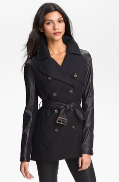 Dawn Levy 'Morgan' Leather Sleeve Trench Jacket available at #Nordstrom
