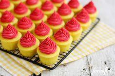 Lemon Baby Cakes with Fresh Raspberry Buttercream - www.afarmgirlsdabbles.com