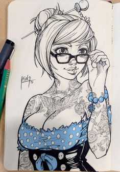 A tattooed pin up version of Mei from Overwatch. I'm making t-shirt desing with those btw: Pin up Mei Cartoon Kunst, Comic Kunst, Cartoon Art, Pin Up Drawings, Sexy Drawings, Drawing Pin, Art Pop, Fantasy Kunst, Fantasy Art