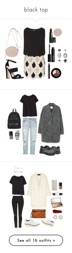 """black top"" by anichch ❤ liked on Polyvore featuring black, Tee, top, shirt, Topshop, Carvela, N°21, NARS Cosmetics, Smashbox and Eve Snow"