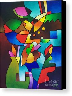 Cubist Canvas Print featuring the painting Leaf And Vase by Sally Trace