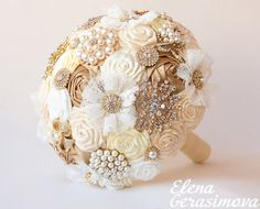 Brooch Bouquet. Gold Ivory Fabric Bouquet, Unique Wedding Bridal Bouquet