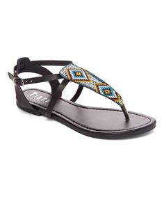 Look at this #zulilyfind! Black Geo Dori Sandal #zulilyfinds