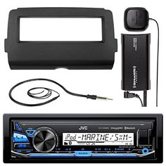 Audio Bundle For 2014 and Up Harley  JVC KDX33MBS MP3USBAUX Marine Bluetooth Audio Receiver Combo With Dash Installation Kit for Motorcycles SiriusXM Radio Tuner Enrock 22 Wired AMFM Antenna *** BEST VALUE BUY on Amazon