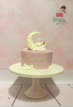 """Pink Moon and Stars Christening cake, with a """"Twinkle Twinkle Little Star nursery rhyme feel  www.littlecakefairydublin.com www.facebook.com/littlecakefairydublin"""