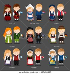 Set of european pairs dressed in different national costumes. Woman and man with flag.  Scotland, the Netherlands, Norway, Iceland, Ireland, Germany, Finland, Denmark, Sweden. Vector illustration.
