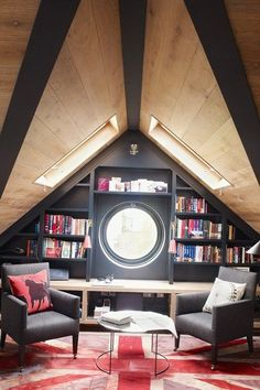 attic library and conversation room with skylights, porthole window and fabulous Union Jack rug in England