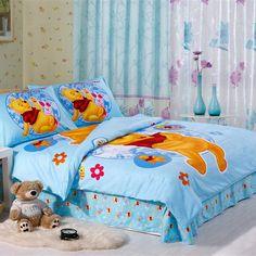 Blue winnie pooh dovet cover set kids bedding set
