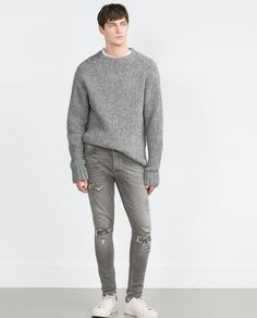Matthew Bell | Zara Studio Knit Sweater 0693374 & Carrot Fit Jeans With Rips 0840306