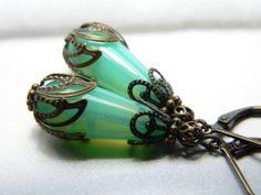 Old World Peridot Opal Glass Dangle Earrings by judysmithdesigns, $16.00