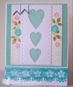 Wplus9, Folk Art Florals, Hearts and Clouds Dies, Chantilly Trim, watercolor, tombow markers, aqua, white and pink, Leah Cornelius