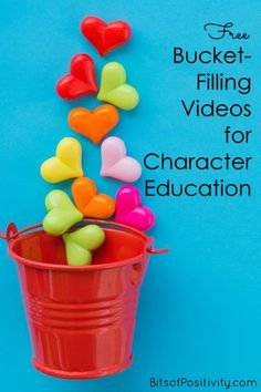 These free bucket-filling videos and resources are perfect for parents and teachers. You'll find character education resources for a variety of ages at home or in the classroom - Bits of Positivity kindnessprojects