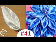 "▶ Базовые лепестки Канзаши #41 ""Острый Лепесток"" / Kanzashi - YouTube Diy Lace Ribbon Flowers, Ribbon Art, Ribbon Hair Bows, Diy Hair Bows, Fabric Ribbon, Ribbon Crafts, Flower Crafts, Fabric Flowers, Kanzashi Tutorial"