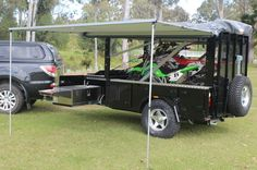 motobike camper trailer day set up