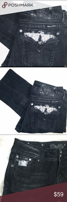 """Black Miss Me jeans Size 30 with 29"""" inseam Slightly distressed black Miss Me skinny jeans. Excellent condition. No missing stones or sequins. No frayed cuffs. 98% cotton 2% elastane. Miss Me Jeans Skinny"""