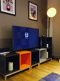 Ikea Eket unit as a TV stand in multicolours. Our version of Made.com multicoloured unit and a fraction of the cost