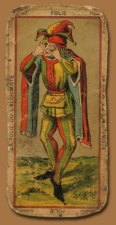 'Folie' The Fool, antique Tarot Card Xiii Tarot, First Joker, Vintage Tarot Cards, Major Arcana, Psychedelic Art, Tarot Decks, Aesthetic Art, Clowns, The Fool
