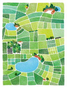 Cai xing chen 農田 on behance Landscape Illustration, Graphic Design Illustration, Book Illustration, Map Painting, Creation Art, Art Sculpture, Map Design, Illustrations And Posters, Map Art