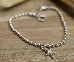 Beach Jewelry, Summer Jewelry, Nautical Jewelry, Silver Bracelet, Summer Bracelet, Anklet, Festival Jewelry, Starfish bracelet by AdiliArt on Etsy