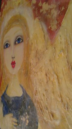 Traditional Mixed Media Angel on Wood http://www.my-mixed-media-life.com/traditional-mixed-media-angel-on-wood/