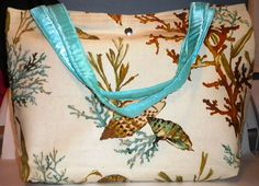 Ocean themed tote bag lined with inside pocket by LaurieEmporium
