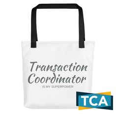 Bring your favorite design everywhere you go. Let them know you're proud of your super power! Buy now, click here! #TransactionCoordinator #RealEstate #RealEstateVirtualAssistant http://transactioncoordinatoracademy.com/product/superpower-tote-bag/