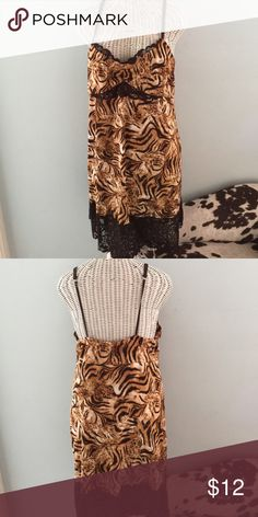 "Lingerie Josie by ""NOTORI"", leopard nightgown or slip with lace bottom. 92%poly/8%spandex. Gently worn NATORI Intimates & Sleepwear Chemises & Slips"