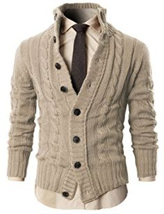 Mens Premium Various Styles Twisted Knit Cardigan Sweater with Button Details - Brown is actually a lighter tan color Cable Knit Sweaters, Sweater Cardigan, Men Sweater, Mens Dress Sweaters, Casual Wear, Men Casual, Mode Man, Beige Sweater, Sharp Dressed Man