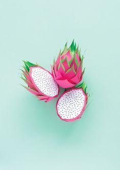 Paper Dragon Fruit  Paper Art / Paper Food / @aurelycerise