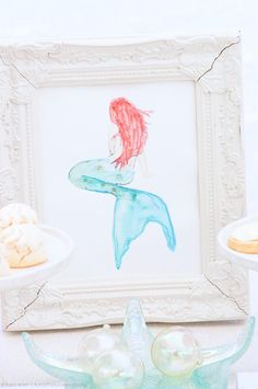 Free watercolor mermaid print! Dessert table at a mermaid under the sea party! FREE party printables! By Kara's Party Ideas.