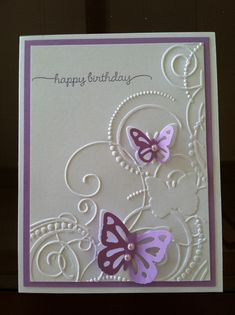 Darice Embossing Folder - Butterfly Swirls  Birthday card for my SIL